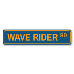 Wave Rider Rd Sign, Beach Street Sign, Ocean Lover Gift, Beach House Decor, Metal Sea Home Decoration