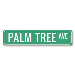 Palm Tree Ave Sign, Beach Street Sign, Ocean Lover Gift, Beach House Decor, Metal Sea Home Decoration