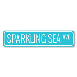 Sparkling Sea Ave Sign, Beach Street Sign, Ocean Lover Gift, Beach House Decor, Metal Sea Home Decor
