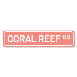 Coral Reef Rd Sign, Beach Street Sign, Ocean Lover Gift, Beach House Decor, Metal Sea Home Decoration
