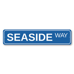 Seaside Way Sign, Beach Street Sign, Ocean Lover Gift, Beach House Decor, Metal Sea Home Decoration