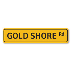 Gold Shore Rd Sign, Beach Street Sign, Ocean Lover Gift, Beach House Decor, Metal Sea Home Decoration