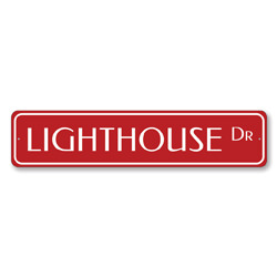 Lighthouse Dr Sign, Beach Street Sign, Ocean Lover Gift, Beach House Decor, Metal Sea Home Decoration