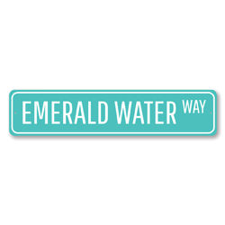 Emerald Water Way Sign, Beach Street Sign, Ocean Lover Gift, Beach House Decor, Metal Sea Home Decor