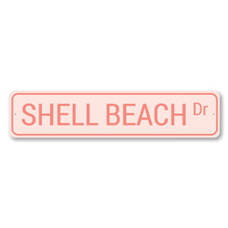 Shell Beach Dr Sign, Beach Street Sign, Ocean Lover Gift, Beach House Decor, Metal Sea Home Decor