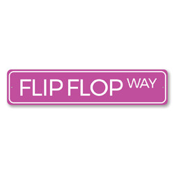 Flip Flop Way Sign, Beach Street Sign, Ocean Lover Gift, Beach House Decor, Metal Sea Home Decoration
