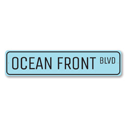 Ocean Front Blvd Sign, Beach Street Sign, Ocean Lover Gift, Beach House Decor, Metal Sea Home Decor