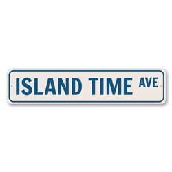 Island Time Ave Sign, Beach Street Sign, Ocean Lover Gift, Beach House Decor, Metal Sea Home Decoration