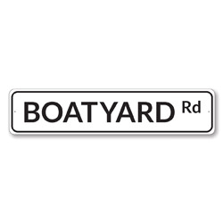 Boatyard Rd Sign, Beach Street Sign, Ocean Lover Gift, Beach House Decor, Metal Sea Home Decoration