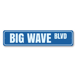 Big Wave Blvd Sign, Beach Street Sign, Ocean Lover Gift, Beach House Decor, Metal Sea Home Decoration
