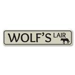 Wolf's Lair Sign, Lake House Street Sign, Metal Wolf Lover Gift, Lake House Cabin Decor
