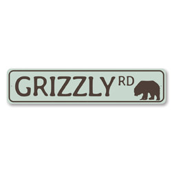 Grizzly Rd Sign, Lake House Street Sign, Bear Road Sign, Metal Bear Lover Gift, Lake House Decor