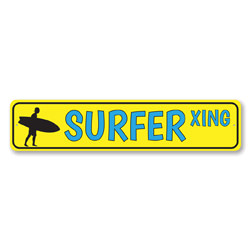 Surfer Xing Sign, Surfer Dude Metal Sign, Surf Lover Crossing Beach House Decor, Beach Street Sign