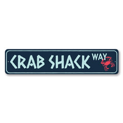 Crab Shack Way Sign, Crab Lover Beach Decor, Metal Beach House Decor, Seafood Lover Beach Street Sign