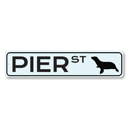Peir St Sign, Sea Lion Street Sign, Metal Beach House Decor, Sea Animal Lover Gift, Beach Street Sign