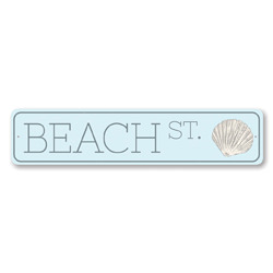 Seashell Beach St Sign, Beach Lover Street Sign, Metal Beach House Decor, Ocean Shell Collector Sign