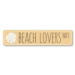 Beach Lovers Way Sign, Sand Dollar Collector Sign, Metal Beach House Decor, Ocean Beach Street Sign