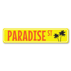 Paradise St Sign, Beach Street Sign, Metal Palm Tree Sign, Ocean Lover Colorful Beach House Decor
