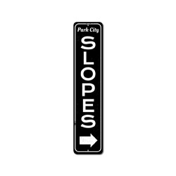 Slopes Vertical Sign, Custom Directional Arrow Ski Lover Gift, Personalized Ski Location Name Lodge Decor