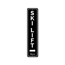 Ski Lift Vertical Sign, Custom Arrow Skiing Location Name Sign, Personalized Metal Ski Lover Gift, Lodge Decor