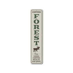 Forest Vertical Sign, Personalized Enjoy Hiking Camping Wildlife Moose Gift, Custom National Park Cabin Decor