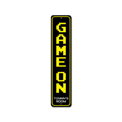 Game On Vertical Sign, Personalized Child Name Bedroom Metal Decor, Custom Video Gamer Lover Room Kid Gift