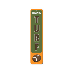 Football Turf Vertical Sign, Personalized Kid Name Room Metal Decor, Custom Sports Lover Child Playroom Gift