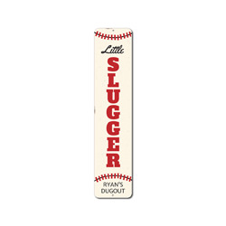 Little Slugger Vertical Sign, Personalized Child Name Baseball Dugout Metal Decor, Custom Sports Bedroom Gift