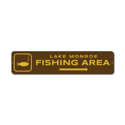Fishing Area Sign, Custom Hook Line Fish Arrow Lake Location Name Gift, Personalized Park Recreation Decor