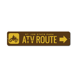 ATV Route Sign, Custom Four Wheeler Arrow State Park Location Name Gift, Personalized Park Recreation Decor