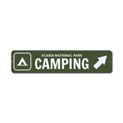 Camping Sign, Custom Camper Tent Arrow National Park Location Name Gift, Personalized Park Recreation Decor