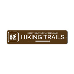 Hiking Trails Sign, Custom Hikers Arrow National Park Location Name Gift, Personalized Park Recreation Decor