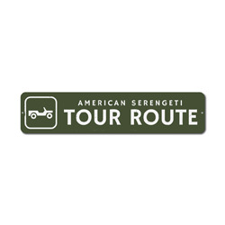Tour Route Sign, Custom American Serengeti Wildlife Area Location Gift, Personalized Park Recreation Decor