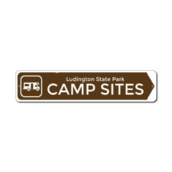 Camp Sites Camper Sign, Custom Metal Arrow State Park Location Name Gift, Personalized Park Recreation Decor