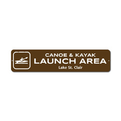 Canoe & Kayak Launch Area Sign, Custom Lake Lover Location Name Gift, Personalized Park Recreation Metal Decor