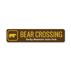 Bear Crossing Sign, Custom Rocky Mountain State Park Name Xing Gift, Personalized Park Recreation Metal Decor