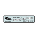 Coast To Coast Flying Service Sign, Personalized Pilot Name Airplane Gift, Metal Aviation Lover Man Cave Decor