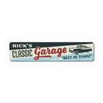 Classic Garage Metal Sign, Personalized Car Shop Owner Name Gift, Custom Best In Town Car Lover Man Cave Decor