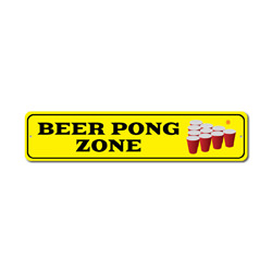 Pong Zone Sign, Beer Game Red Cup Winner Gift, Party Drinking Fun Man Cave Dorm Room Decor