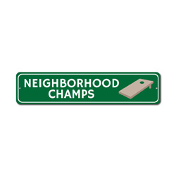 Neighborhood Champs Sign, Corn Hole Party Game Winner Gift, Bags Tournament Man Cave Dorm Room Decor
