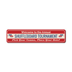 Shuffleboard Tournament Sign, Welcome Annual Party Game Winner Gift, Pick Your Teams Place Bets Man Cave Decor