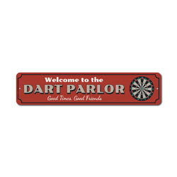 Dart Parlor Welcome Sign, Good Times Good Friends Gift, Metal Dart Board Game Room Man Cave Dorm Decor
