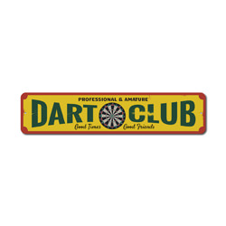Dart Club Sign, Metal Professional & Amature Dart Board Gift, Game Room Man Cave Decor