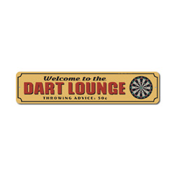 Dart Lounge Sign, Welcome Game Room Gift, Throwing Advice 50 Cents Dart Board Man Cave Dorm Metal Decor
