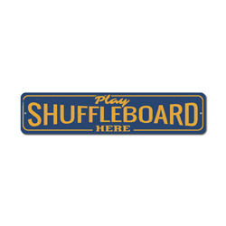 Play Shuffleboard Here Sign, Tournament Game Winner Gift, Game Room Man Cave Dorm Decor