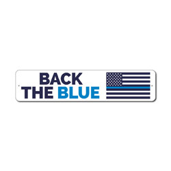 Back The Blue Flag Sign, Police Support Gift, Officer Appreciation & Respect Home Decor