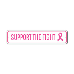 Support The Fight Sign, Breast Cancer Awareness Cure Decor, Pink Ribbon Survivor Award Gift