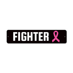 Fighter Sign, Breast Cancer Awareness Decor, Support The Fight Pink Ribbon Survivor Award Gift