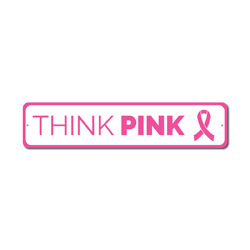 Think Pink Sign, Breast Cancer Awareness Decor, Support The Fight Ribbon Survivor Award Gift