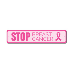 Stop Breast Cancer Sign, Support The Fight Awareness Decor, Pink Ribbon Survivor Award Gift